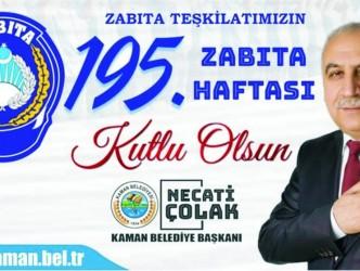 Başkan Necati Çolak'tan Zabıta Haftası Kutlama Mesajı
